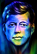 Dallas Digital Art Metal Prints -  John Fitzgerald Kennedy Metal Print by Andrzej  Szczerski