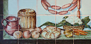 Sausages Posters -  Kitchen tiles art Sausages Poster by Filippo B