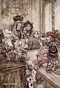 King Drawings Prints -  Knave before the King and Queen of Hearts illustration to Alice s Adventures in Wonderland Print by Arthur Rackham