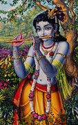 Peacock Paintings -  Krishna with flute  by Vrindavan Das