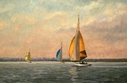 Yacht Prints -  Late Finish Print by Vic Trevett