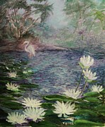 Contemplation Painting Originals -   Lilies  Of  The  Pond by Beth Arroyo