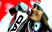 Skiing Action Paintings -  Lindsey Vonn skiing by Lanjee Chee