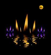 Lotus On Fire In The Dark Night Print by Pepita Selles