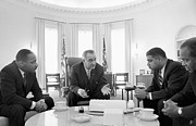 President Johnson Prints -  Lyndon Baines Johnson 1908-1973 36th President of the United States in talks with Civil Rights  Print by Anonymous