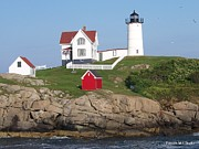Nubble Lighthouse Posters -  Maines Nubble Light with Sea Gulls Poster by Eunice Miller