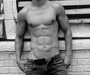 Black And White Digital Art Posters -  Male Abs Poster by Mark Ashkenazi
