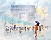 Umbrella Painting Originals -  Memory Of Paris France by John YATO