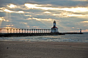 Indiana Dunes Prints -  Michigan City Indiana Lighthouse on a cold early spring day. Print by Lynne Dohner