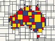 Mondrian Inspired Australia Map Print by Michael Tompsett