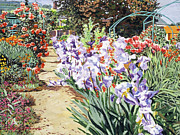 Gardenscapes Painting Framed Prints -  Monets Garden Walk Framed Print by David Lloyd Glover