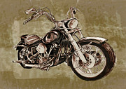 Lawyer Mixed Media Prints -  Motorcycle Art Sketch Poster Print by Kim Wang