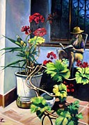 Villa Paintings -  My Patio Spain by Philip Corley