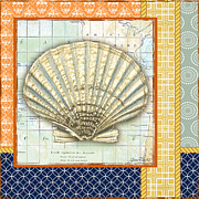 Sea Shell Digital Art Posters -  Nautical Journey-Shell B Poster by Jean Plout