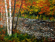 Fall Trees With Stream. Art -  North Carolina Stream by Lou Ann Bagnall