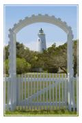Fence Digital Art Prints -  Ocracoke Island Lighthouse Print by Mike McGlothlen