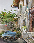 Building Exterior Drawings -  Old Boarding House Watercolor by Natalia Sinelnik