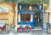 Blue Cobblestone Prints -  Osteria Margutta Rome Italy Print by Anthony Butera