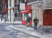 L Montreal Paintings -  Outside Les Viandes McCormack by Reb Frost