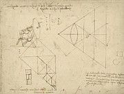Engineering Drawings Framed Prints -  Page from Atlantic Codex Framed Print by Leonardo Da Vinci