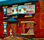 Store Fronts Prints -   Paintings Of Montreal Memories The Original Fairmount Bagel Shop With Vintage Baker Marquee Print by Carole Spandau