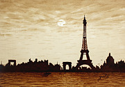 Silhouettes Painting Prints -  Paris Under Moonlight Silhouette France Print by Georgeta  Blanaru