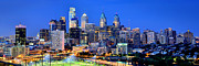 Philadelphia Scene Art -  Philadelphia Skyline at Night Evening Panorama by Jon Holiday