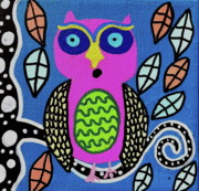 Modern Paintings -  Pink Owl by Kerri Ambrosino GALLERY