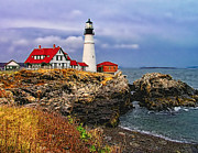 Maine Shore Framed Prints -  Portland Head Lighthouse Framed Print by Nick Zelinsky