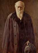 White Beard Metal Prints -  Portrait of Charles Darwin Metal Print by John Collier