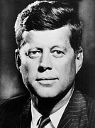 Black And White Portraits Prints -  Portrait of John F. Kennedy  Print by American Photographer