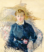 Morisot Painting Metal Prints -  Portrait of Louise Riesener Metal Print by Berthe Morisot
