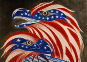 Flag Of Usa Pastels Prints -  Proud of Eagle Print by Jalal Gilani