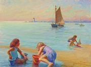 Cape Cod Lighthouse Paintings -  Provincetown Harbor Morning by Ernest Principato