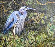 Ptg  Blue Heron Print by Judy Via-Wolff