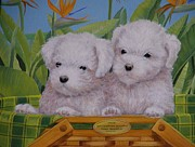 Puppies Painting Originals -  Puppy Buddies by Bonnie Golden