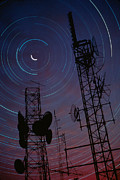 Long-exposure Prints -  Radio Towers And Star Trails Print by Anonymous