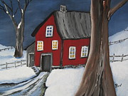 Snow Tree Prints Painting Prints -  Red-Barn Print by Beverly Livingstone
