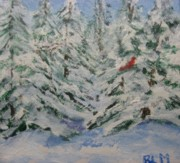 Red Bird In Snow Posters -  Red Bird in Snowy Branches Poster by Brenda Mullaney