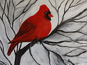 Snowy Trees Paintings -  Red Cardinal In Tree by Beverly Livingstone
