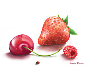 Strawberry Digital Art Prints -  Red fruits Print by Veronica Minozzi