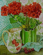 Red Geraniums Painting Posters -  Red geranium with the strawberry jug and cherries Poster by Joan Thewsey
