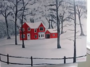 Kathy Livermore Art -  Red house in the snow by Kathy Livermore