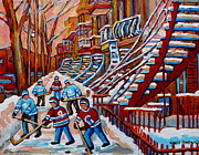 Verdun Hockey Scenes Montreal Street Scene Artist Carole Spandau Paintings -  Red Staircases -paintings Of Verdun Montreal City Scene - Hockey Art - Winter Scenes  by Carole Spandau