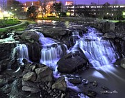 Night Scene Framed Prints -  Reedy River Falls Framed Print by Nian Chen