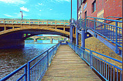 Walkway Digital Art Originals -  River Walk by Garry Schmidt