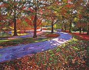 Autumn Trees Painting Posters -  Road By The Lake Poster by  David Lloyd Glover