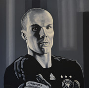 Black And White Baseball Posters -  Robert Enke Poster by Paul  Meijering