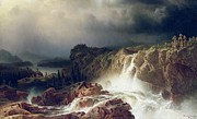 Rushing Water Paintings -  Rocky Landscape with Waterfall in Smaland by Marcus Larson