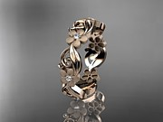 Engagement Jewelry Originals -  Rose Gold Diamond Flower Wedding Ring Engagement Ring Wedding Band by Anjay